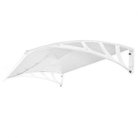 Esővédő tető polikarbonát 150x100 fehér keret áttetsző fehér előtető
