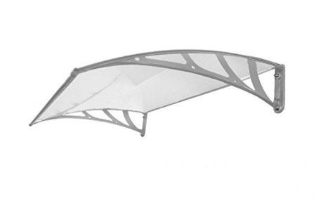 Esővédő tető polikarbonát 150x100 szürke keret áttetsző fehér előtető