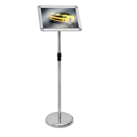 Plakáttartó étlaptartó állvány A4-es méret alumínium kerettel, rozsdamentes acél vázzal