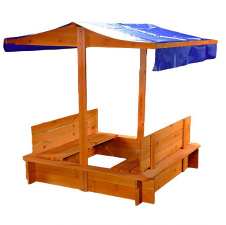 Gyerek fa keretes homokozó állítható védtetővel napernyővel több színben is
