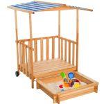 Gyerek fa keretes homokozó verandával védtetővel napernyővel több színben is