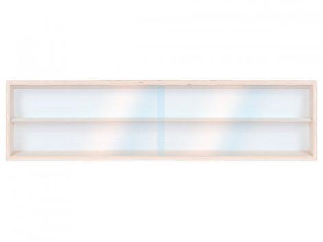 Fali vitrin modell szekrény 2 polc 100x20x8,5 cm makett kisautó, modellvasút gyűjtő plexi tolóajtóva