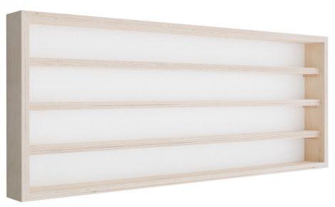 Fali vitrin modell szekrény 4 polc 100X39X8,5 cm kisautó, modellvasút gyűjtő plexi tolóajtóval