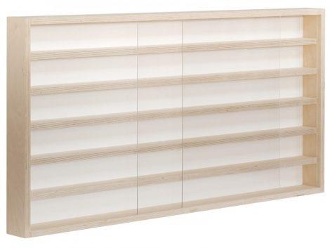 Fali vitrin modell szekrény polc 100x58x8,5 cm kisautó, modellvasút gyűjtő plexi tolóajtóval