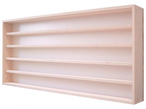 Fali vitrin modell szekrény 5 polc 120x49x8,5 cm kisautó, kisautó, modellvasút gyűjtő plexi tolóajtó