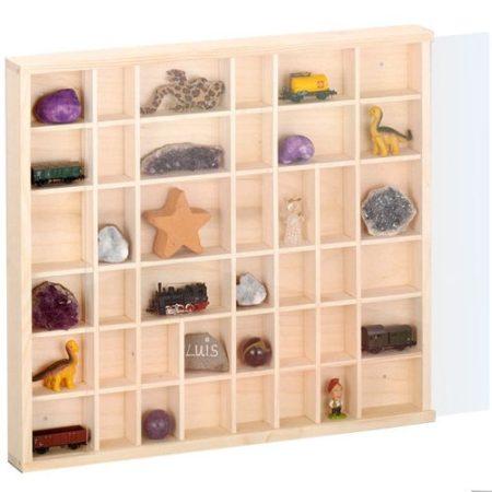 Fali vitrin modell szekrény polc üveges 60x80 cm kisautó, modellvasút gyűjtő