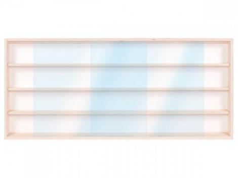 Fali vitrin modell szekrény polc 60x39x8,5 cm kisautó, gyűjtői polc plexi tolóajtóval