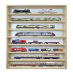 Fali vitrin modell szekrény 8 polc 60x75,5x8,5 cm kisautó, gyűjtői polc plexi tolóajtóval