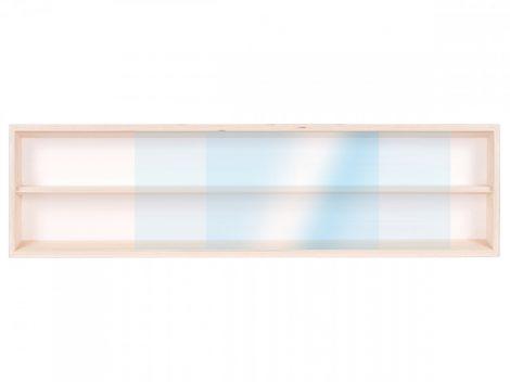 Fali vitrin modell szekrény 2 polc 70x20X8,5 cm kisautó, gyűjtői polc plexi tolóajtóval