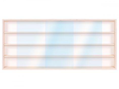 Fali vitrin modell szekrény 4 polc 70x39X8,5 cm kisautó, gyűjtői polc plexi tolóajtóval