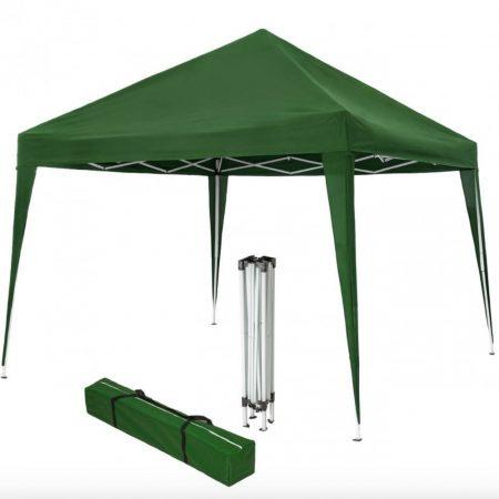 Össezcsukható pavilon 3x3 m kerti party sátor összecsukható pavilon zöld színben