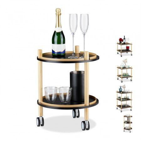 Zsúrkocsi, modern kialakítású gurulós kis asztal, kör alakú 2 szintes fekete színben
