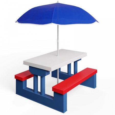 Gyerek műanyag kerti pad és asztal napernyővel kék-fehér-piros színben