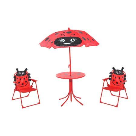 Gyerek asztal szétnyitható székekkel és napernyővel katicabogár mintájú