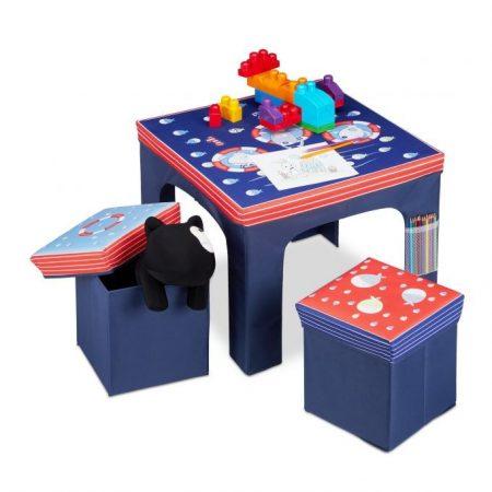 Gyerek asztal tárolódobozos székekkel összecsukható a helytakarékosság érdekében kék színben