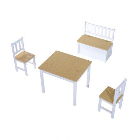 Gyermek ülőgarnitúra, asztallal 2 székkel és paddal