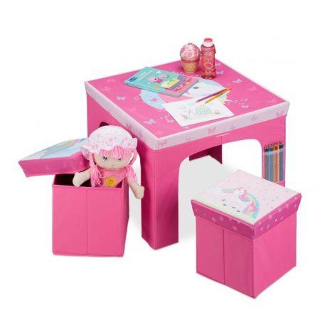 Gyerek asztal tárolódobozos székekkel összecsukható a helytakarékosság érdekében