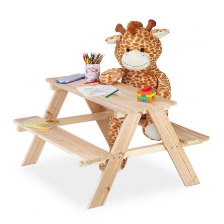 Gyerek fa kerti pad piknik asztal 50 x 90 x 78 cm