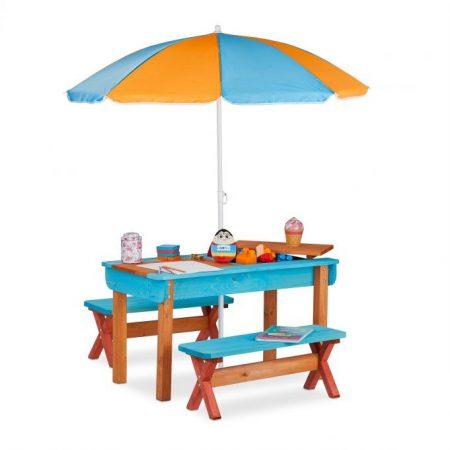 Gyerek fa kerti pad piknik asztal napernyővel színes