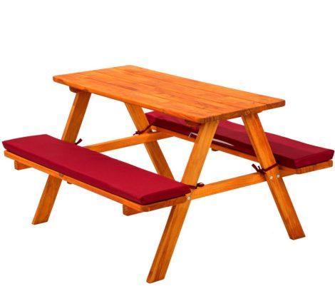 Gyermek fa kerti pad piknik asztal piros