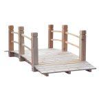 Kerti híd fából gyaloghíd dísz korláttal  természetes natúr hatás 152,5x67x48 cm