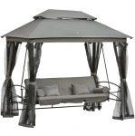 Luxus Hintaágy pavilonnal 3 üléses lehajtható háttámlával szürke színben