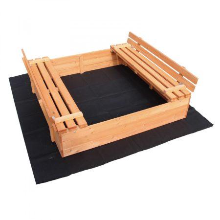 Homokozó paddal, ami átalakítható védőtetőnek. Fedeles fa homokozó 98x98x20 cm