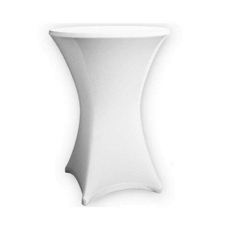 Sztreccs huzat bisztró asztalhoz 60 cm átmérőjű  fehér színben