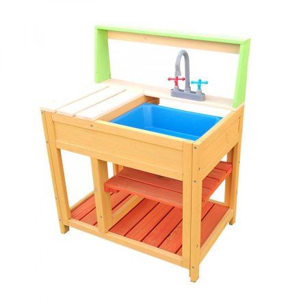 Gyereknek készült szabadtéri játékkonyha, fából készült, sárkonyha