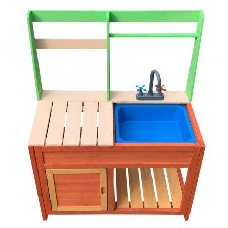 Gyerek kültéri konyha fából, sárkonyha kültéri mosogatóval