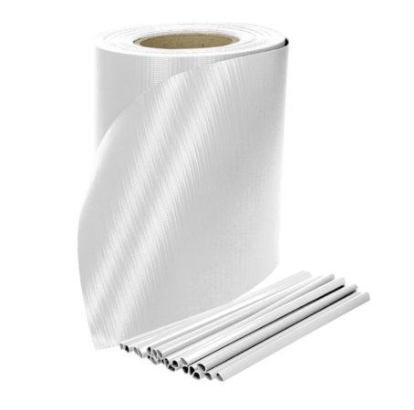 Keritésbe fűzhető PVC műanyag szalag 35m hosszú 19cm magas fehér belátásgátló szélfogó