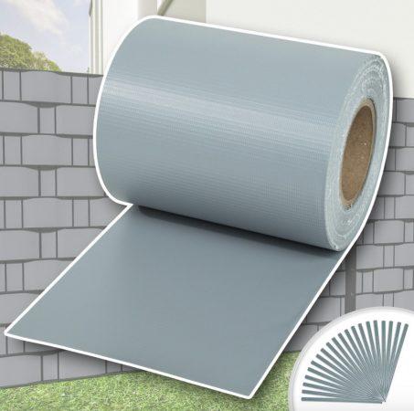 Keritésbe fűzhető PVC műanyag szalag 70m hosszú 19cm magas világos szürke belátásgátló szélfogó