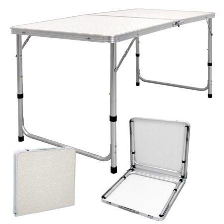 Összecsukható alumínium kerti piknik kemping asztal állítható magassággal fehér színben