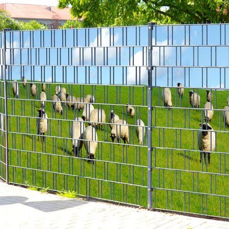 Táblás kerítésbe fűzhető Birka és mező kép 250x180 cm 19 cm-es szalagból