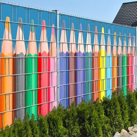 Táblás kerítésbe fűzhető ceruzás kép 250x180 cm 19 cm-es szalagból