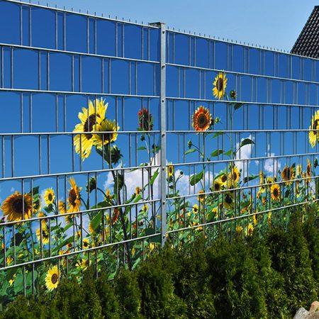 Táblás kerítésbe fűzhető Napraforgókkép 250x180 cm 19 cm-es szalagból műanyag belátásg átló szé