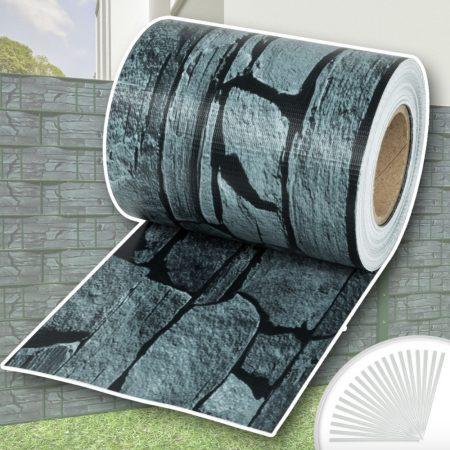 Keritésbe fűzhető PVC műanyag szalag 35m hosszú 19cm magas tört köves sötét belátásgátló szélfogó