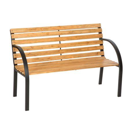 Kerti pad deszka háttámlával és fa ülőkével kültéri 128 cm széles