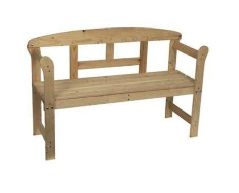 Kerti pad fa háttámlával és fa ülőkével 123 cm széles