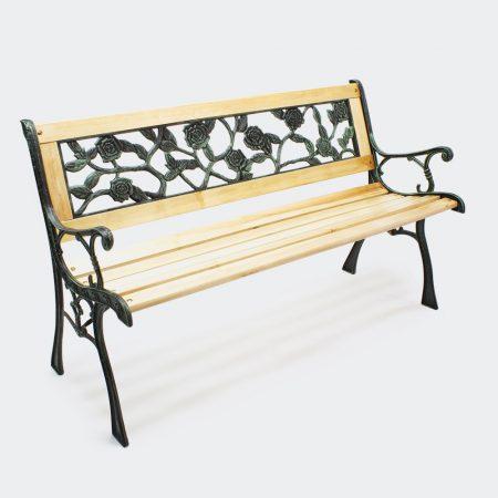 Öntöttvas kerti pad virágos háttámlával és fa ülőkével öntöttvas kerettel 128 cm széles