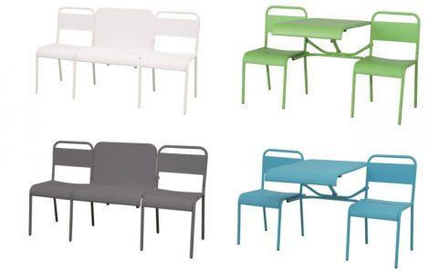 Átalakítható asztal szett 3 férőhelyes paddá