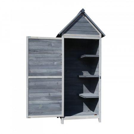 Kerti fészer, kerti szekrény világosszürke fából 77 x 53 x 179 cm, nyeregtetővel és ajtóval