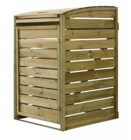 Kerti kukatároló szemeteskuka tároló 1 db 80-240 literes kukához fenyőfa szekrény