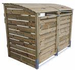 Dekoratív szemeteskuka tároló 2 db 80-240 literes kukához fenyő és fém szerkezet