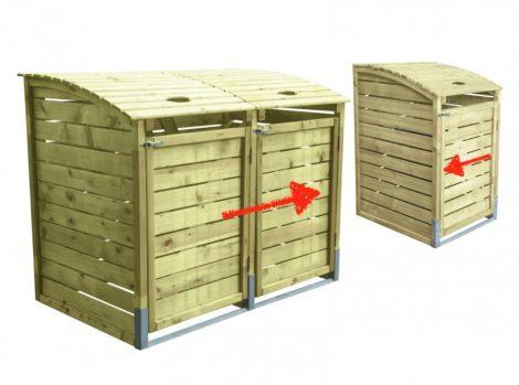 Dekoratív szemeteskuka tároló 3 db 80-240 literes kukához fenyő és fém szerkezet