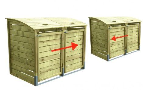 Dekoratív szemeteskuka tároló 4 db 80-240 literes kukához fenyő és fém szerkezet
