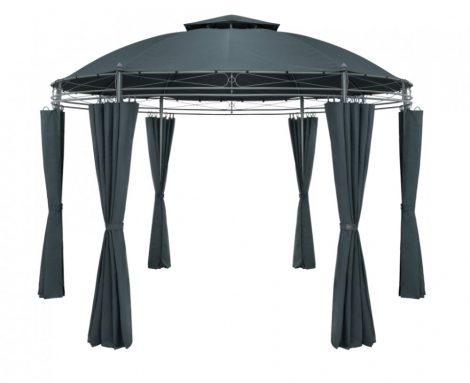 Kerek kerti sátor fémvázas szerelhető kerti antracit szürke pavilon 350 cm átmérő