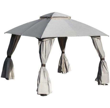 Sörsátor, fémvázas szerelhető kerti pavilon 3x3 méter dupla tetővel és oldalfallal világos szürke