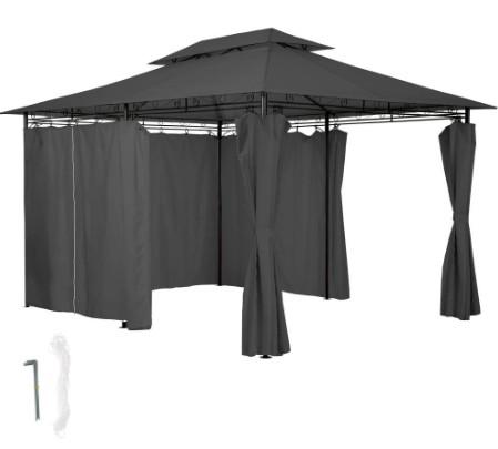 Sörsátor modern stílusú szerelhető 3X4m kerti pavilon fekete színben pergola