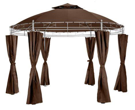 Kerek fémvázas pavilon barna színben 350 cm átmérőjű pergola